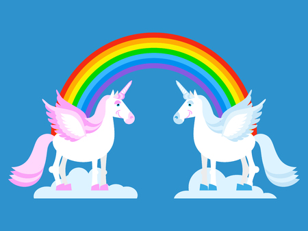 forehead: Unicorn and Rainbow. Two cute fantasy creatures in clouds. Fabulous beast with horn in his forehead. Pink and blue mythic animal. LGBT symbol Illustration