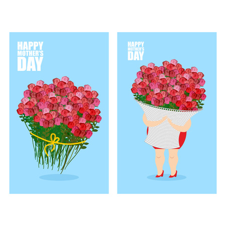 gift basket: Mothers Day greeting card set. Woman and basket of flowers. Holiday gift bouquet of red roses Illustration
