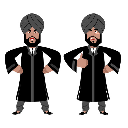 all right: Indian Raja set. Angry, aggressive and good businessman in India. Hindu in turban and tie. Traditional costume. Sign all right. Thumbs up. Hand showing ok