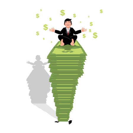 meditation man: Businessman meditating on dollar. Financial yoga. Man sits on pack of money in lotus position. Enlightenment and meditation. Achieving wealth. Many cash Illustration