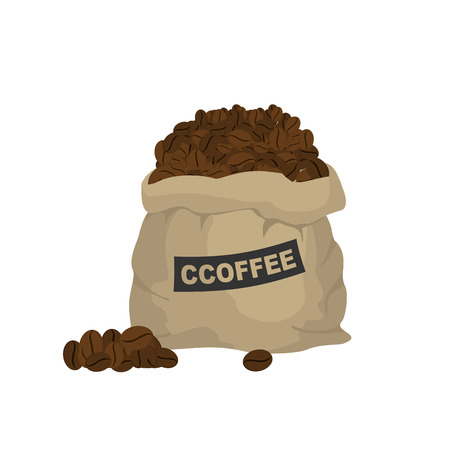 Bag with coffee. Large cloth bag full of coffee beans. Seeds of tropical plant, coffee tree Stock Illustratie