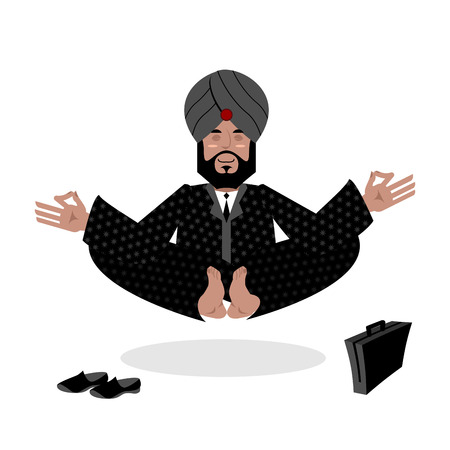 sadhu: Indian businessman meditating. Business yoga by Indian. Man in turban engaged enlightenment. Hindu with beard in Nirvana