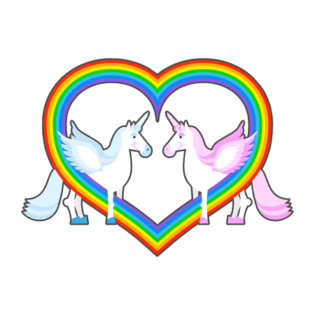 forehead: Two unicorn and rainbow heart.Pink and blue a fantastic animal with  horn on its forehead. Fabulous animal - symbol of love