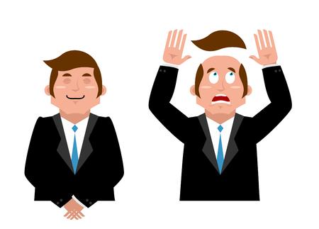 Homme d'affaires établi. homme Joyful en costume. L'homme et la perruque. gestionnaire Scared a perdu ses cheveux. Cheveux artificiels a volé avec la tête chauve. L'homme dans la confusion Vecteurs