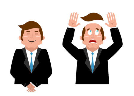 Businessman set. Joyful man in suit. Man and wig. Scared manager lost his hair. Artificial hair flew with bald head. Man in confusion