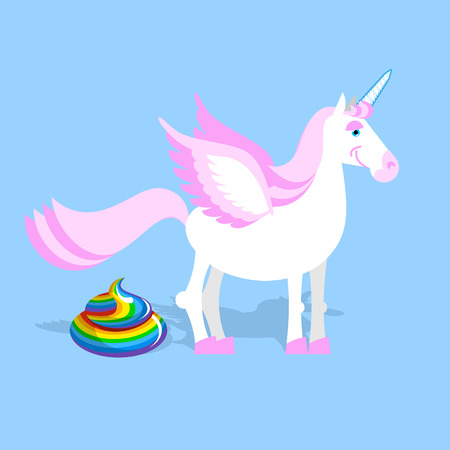 fantastic creature: Unicorn pooping color turd. Fantastic animal in sky.  Mythical creature with horn Leakage chair Illustration