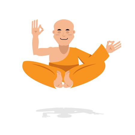 Tibetan monk in an orange robe. Novice yoga. Buddhist in  lotus position. Meditation and enlightenment bald man. Recluse yogi