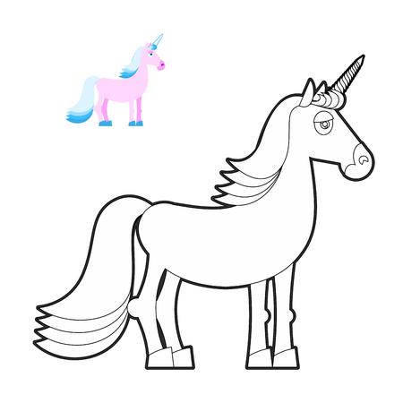 Divertido Unicornio Para Colorear Libros. Vector De Hadas Del ...