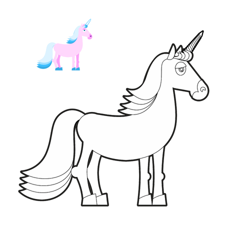 mythical: Unicorn coloring book. Fantastic animal in linear style. Fabulous beast. Mythical creature with horn for kids coloring