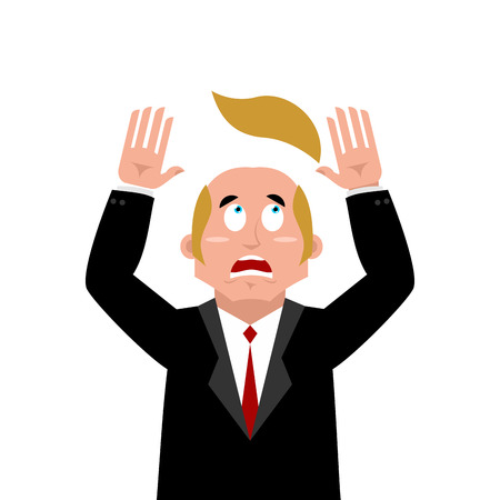 Man and wig. Scared businessman lost their hair. Artificial hair flew with bald head. Man in confusion Illustration