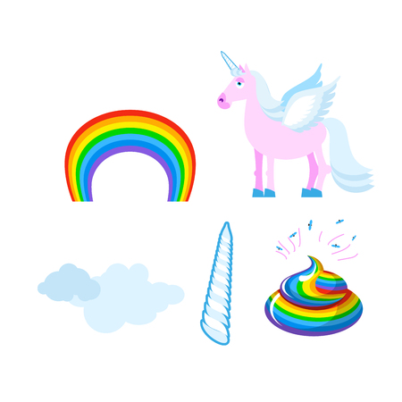 beast creature: Fantastic set of unicorn. Pink fabulous beast with wings. Blue mane. Unicorn Horn. Rainbow and clouds. turd mythical creature