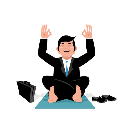 meditation man: Businessman doing yoga. Man in suit sitting in lotus position. Meditation in office during working hours. Manager relaxing after work