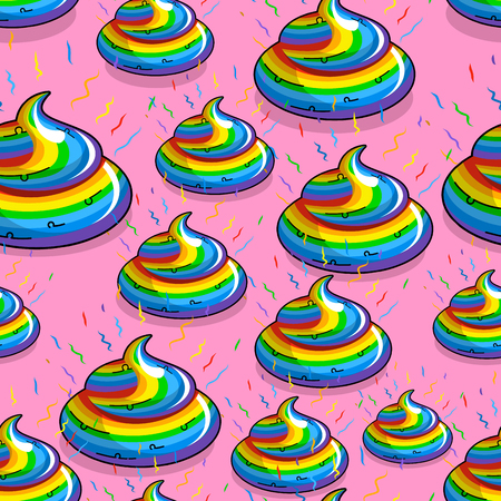 Turd unicorn seamless pattern. color ornament rainbow. Multicolored cal fantastic animal background. Mythical creature Dung. Rainbow Poop on pink background Stock Illustratie