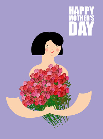 large woman: Mothers Day. Woman holding  large bouquet of red roses. Cheerful girl and lot of beautiful flowers. Poster for holiday mothers and grandmothers