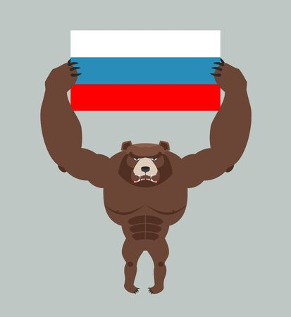 ferocious: Russian aggressive bear. Angry animal holds Russian flag. Ferocious wild beast. Forest monster with big teeth and claws