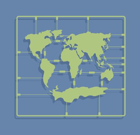 moulding: World map sprue or injection molding toy. Earth plastic model kit