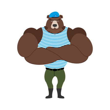 military beret: Russian soldiers bear in blue beret. Airborne Airborne paratroopers. Strong military athlete. Serious animal in striped vest. Powerful Russian beast