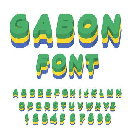 symbolism: Gabon font. Gabonese flag on letters. National Patriotic alphabet. 3d letter. State color symbolism of state in Central Africa Illustration