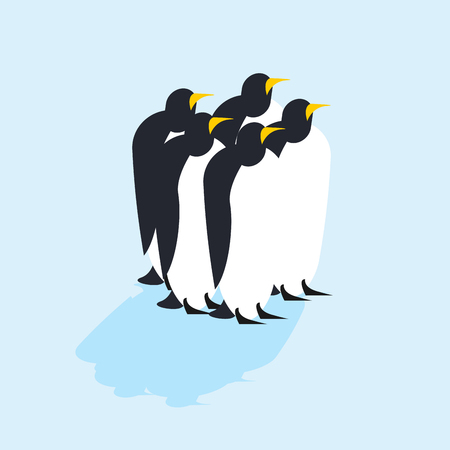 family discussion: Group of penguins. Arctic animals on ice. Antarctic Birds. flock of animals at orth Pole Illustration