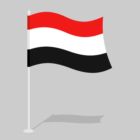 southwest: Yemen Flag. Official national mark of Republic of Yemen. Traditional Yemeni flag paced. state in Southwest Asia