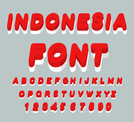 the indonesian flag: Indonesia font. Indonesian flag on letters. National Patriotic alphabet. 3d letter. State color symbolism Asian state Illustration