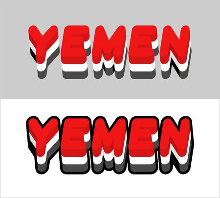 southwest asia: Yemen typography. Text of Yemeni flag. Emblem of the state in Southwest Asia on white background. letters tricolor