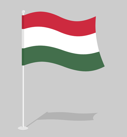 developing: Hungary Flag. Official national symbol of Hungarian state. Traditional Hungarian developing state flag in Europe