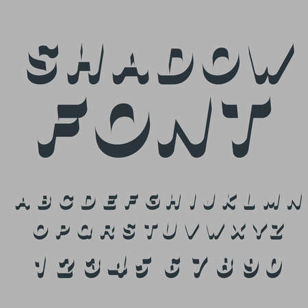 alphabet silhouette: Shadow font. Set of letters of drop shadow. 3D letters of alphabet. silhouette ABC