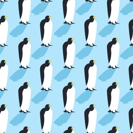 north pole: Penguins seamless pattern. Arctic animals texture. Birds Antarctica background. flock of animals at  North Pole
