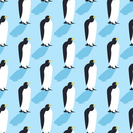 Pingüinos sin patrón. Los animales del Ártico textura. Aves Antártida fondo. rebaño de animales en el Polo Norte