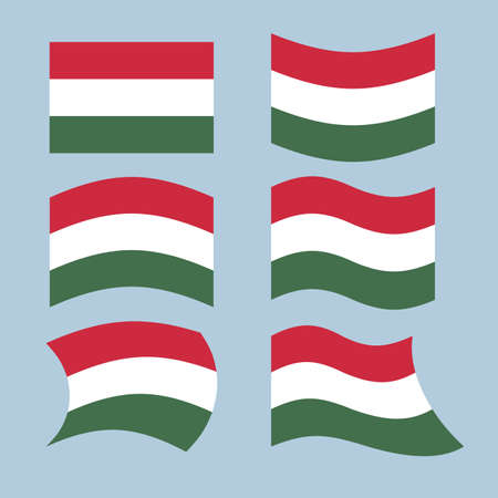 developing: Hungary flag. Set of flags of Hungarian Republic in various forms. Developing Hungarian flag European state