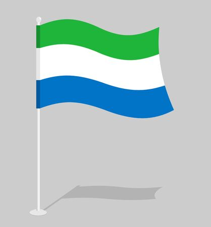 leone: Sierra Leone flag. Official national mark of Sierra Leone Republic. Traditional growing state flag in West Africa Illustration