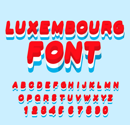 symbolism: Luxembourg font. Luxembourgen flag on  letters. National Patriotic alphabet. 3d letter. State color symbolism Grand Duchy of Luxembourg in Europe