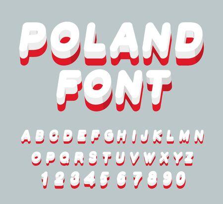 polish flag: Poland font. Polish flag on letters. National Patriotic alphabet. 3d letter. State color symbolism European state