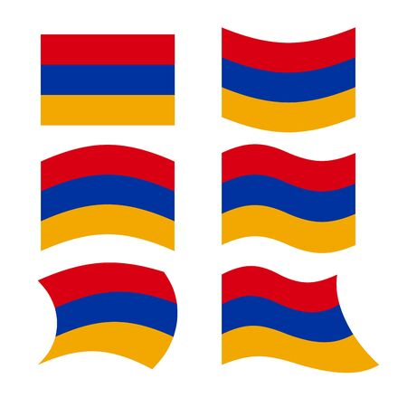 armenian: Armenia flag. Set of flags of Armenian Republic in various forms. Evolving Armenian state flag in South Caucasus. Illustration