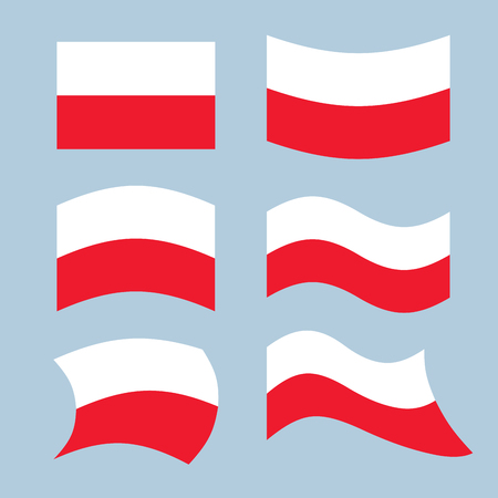 developing: Poland flag. Set of flags of Polish Republic in various forms. Developing the flag of Polish state in Eastern (Central) Europe