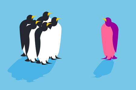 family discussion: Penguins. Animal from another pack.  Unusual bird. Allegory challenge to society