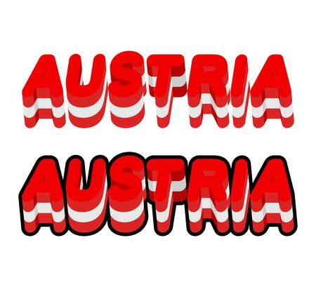 austrian flag: Austria typography. Text of Austrian flag. Emblem of  European countries on  white background. letters tricolor