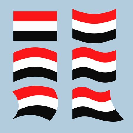 southwest asia: Yemen flag. Set of flags of Republic of Yemen in various forms. Developing Yemeni state flag in South-West Asia Illustration