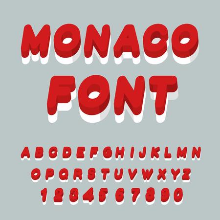 symbolism: Monaco font. Monaco flag on letters. National Patriotic alphabet. 3d letter. State color symbolism European state