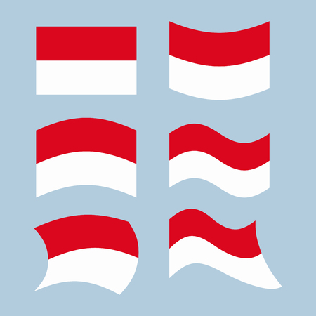 national flag indonesian flag: Indonesian flag. Set of flags of Indonesian republic in various forms. Developing Indonesian flag Asian state
