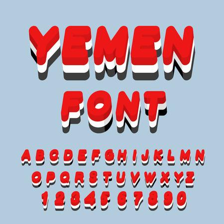 southwest asia: Yemen font. Yemeni flag on letters. National Patriotic alphabet. 3d letter. State color symbolism state in Southwest Asia