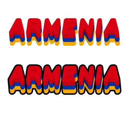 european countries: Armenia typography. Text of Armenian flag. Emblem of  European countries on white background. letters tricolor Illustration