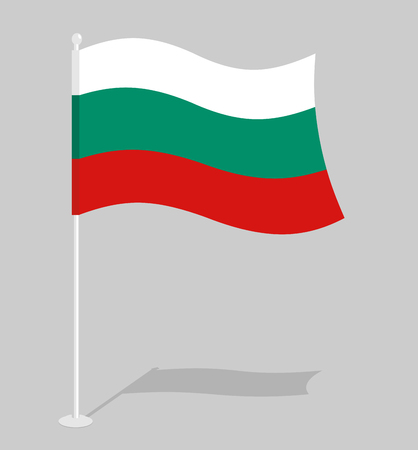 bulgarian: Bulgaria Flag. Official national symbol of Bulgarian Republic. Traditional Bulgarian paced flag. in state in South-Eastern Europe