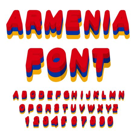 armenian: Armenia font. Armenian flag on letters. National Patriotic alphabet. 3d letter. State color symbolism state in South Caucasus