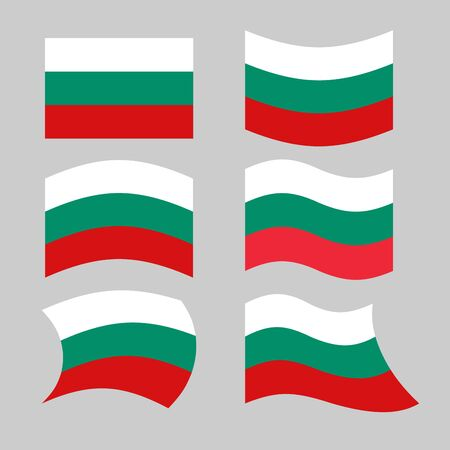 developing: Bulgaria flag. Set of flags of Bulgarian republic in various forms. Developing Bulgarian flag of European states