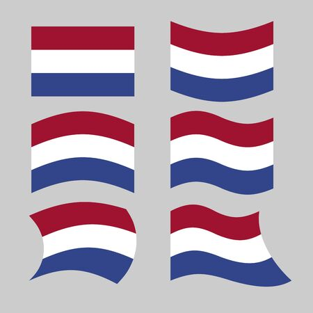 dutch flag: Flag of Netherlands. Set of flags of Netherlands in various forms. Developing Dutch flag Illustration