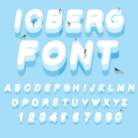 ice alphabet: Iceberg font. 3D letters of ice. Ice alphabet letter. ABC of snow. Large cold ice. Penguins Animals of the Arctic. Animals Antarctica. Walruses and seals inocean. Flora of North Pole