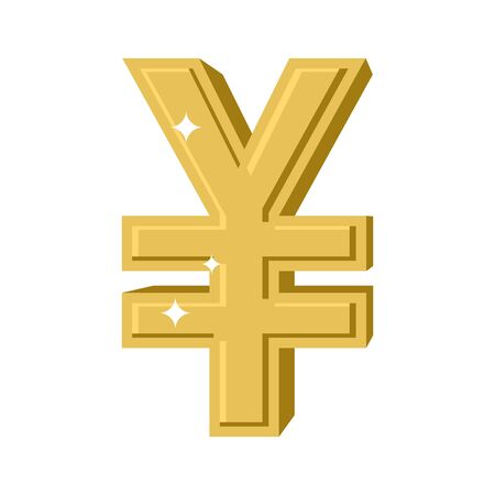 precious metal: Golden Chinese Yen. Symbol of money in China. cash sign in China from yellow precious metal. Financial illustration