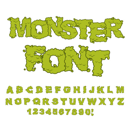 disgusting: Monster font. Horrible Alphabet letters of green. Sweet Frightening ABC of terrible letters. disgusting being